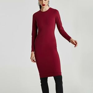NWT Zara Maroon Midi Dress